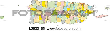 Clipart of Puerto Rico, Island, Administrative Districts k2930165.