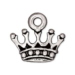 1 Silver Plated LeadFree Pewter Princess Crown Charm 13mm 1 610152.