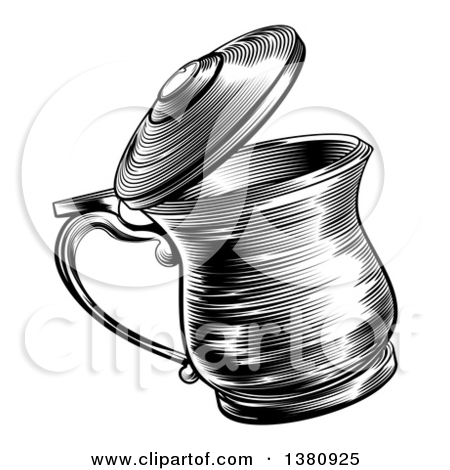 Clipart of Black and White Woodcut or Engraved Beer Steins or.