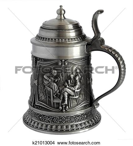 Stock Photo of Pewter beer tankard with bas.