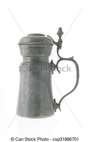 Stock Photography of Pewter tankard from tin isolated over white.