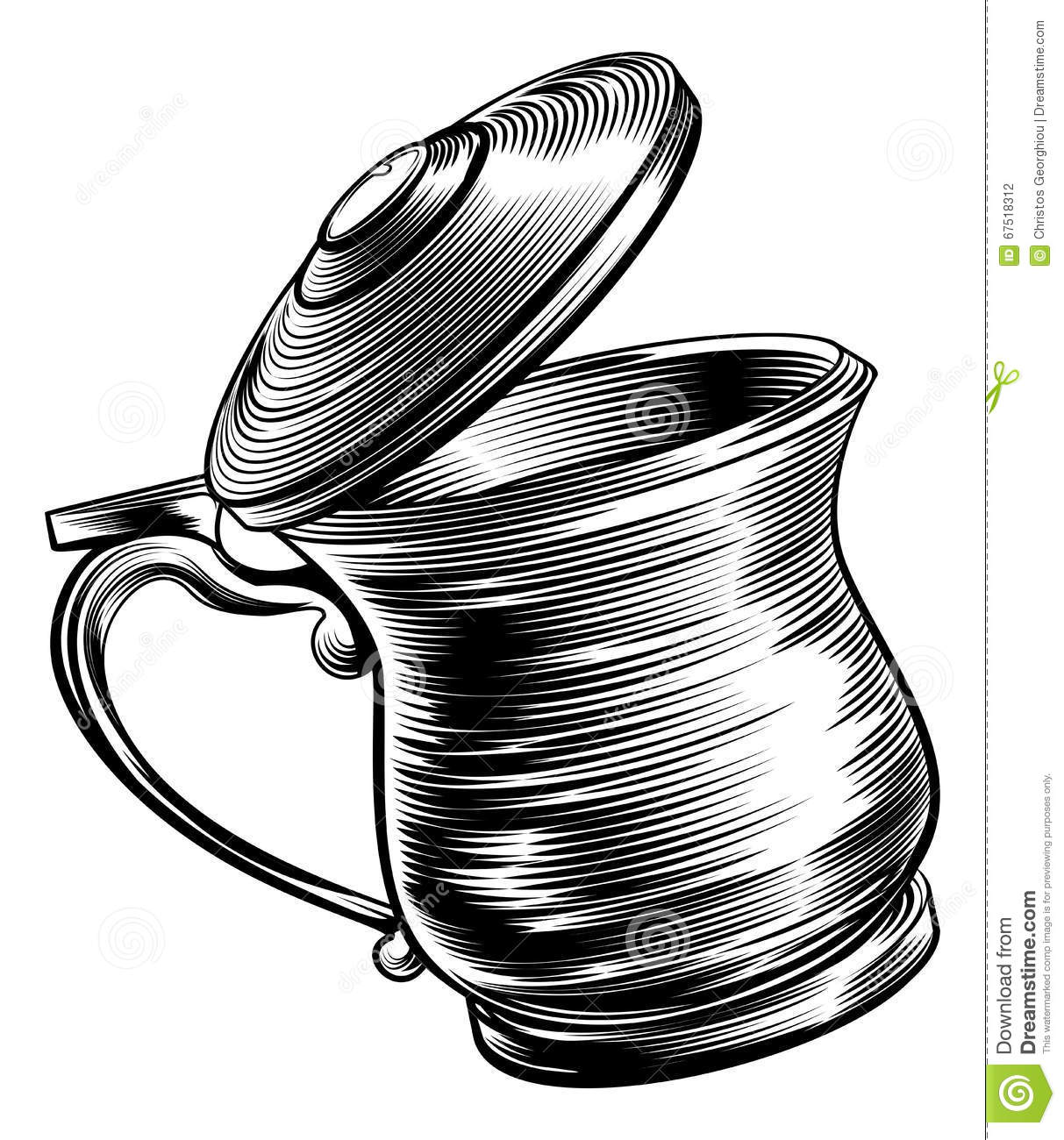 Woodcut Beer Stein Tankard Stock Vector.