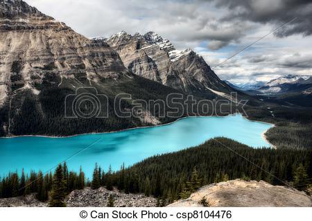 Stock Image of Peyto Lake Alberta Canada emerald green color.