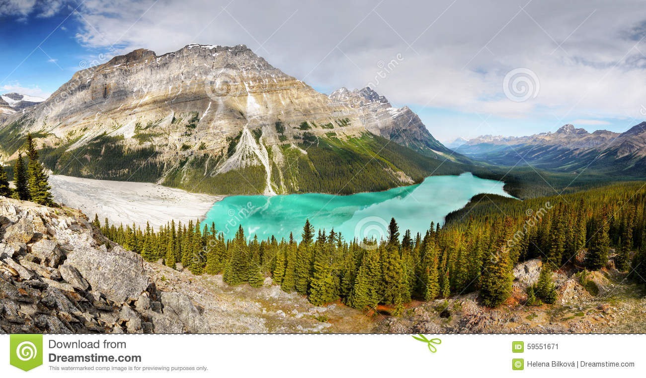 Peyto Lake, Panorama, National Park, Canada Stock Photo.