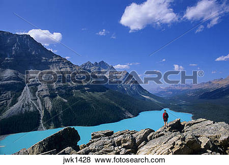Pictures of Hiker overlooking turquoise.