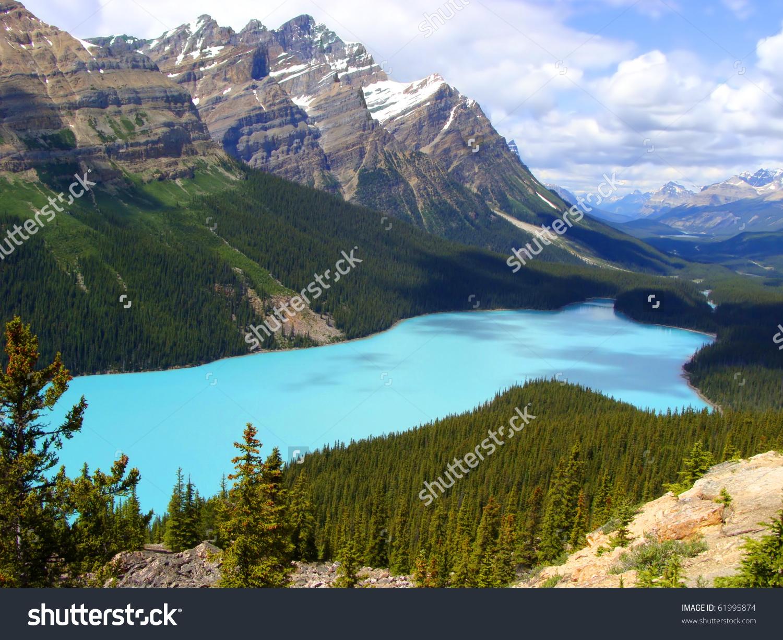 Aerial View Of Peyto Lake, Banff National Park, Canada Stock Photo.