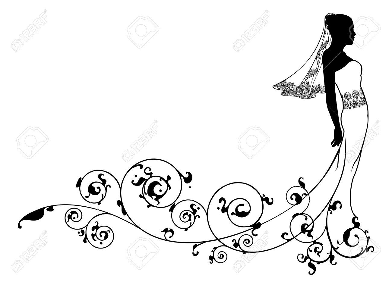 Braut Hochzeitskleid Mode Silhouette Mit Abstrakten Muster.