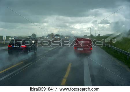 """Picture of """"Traffic during heavy rain and poor visibility, A9."""
