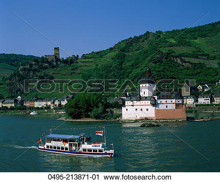 Stock Photography of Germany, Pfalz Castle (Pfalzgrafenstein.