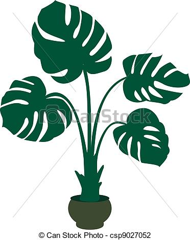 Vektor Illustration von Pflanze, grün, hintergrund, monstera.