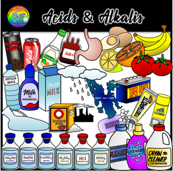 Acid and Alkali (pH Scale) Chemistry Clipart.