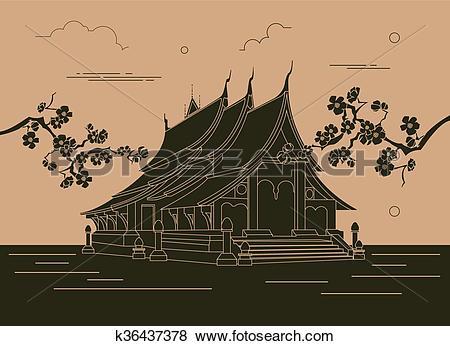 Clip Art of City buildings graphic template. Laos. Luang Prabang.