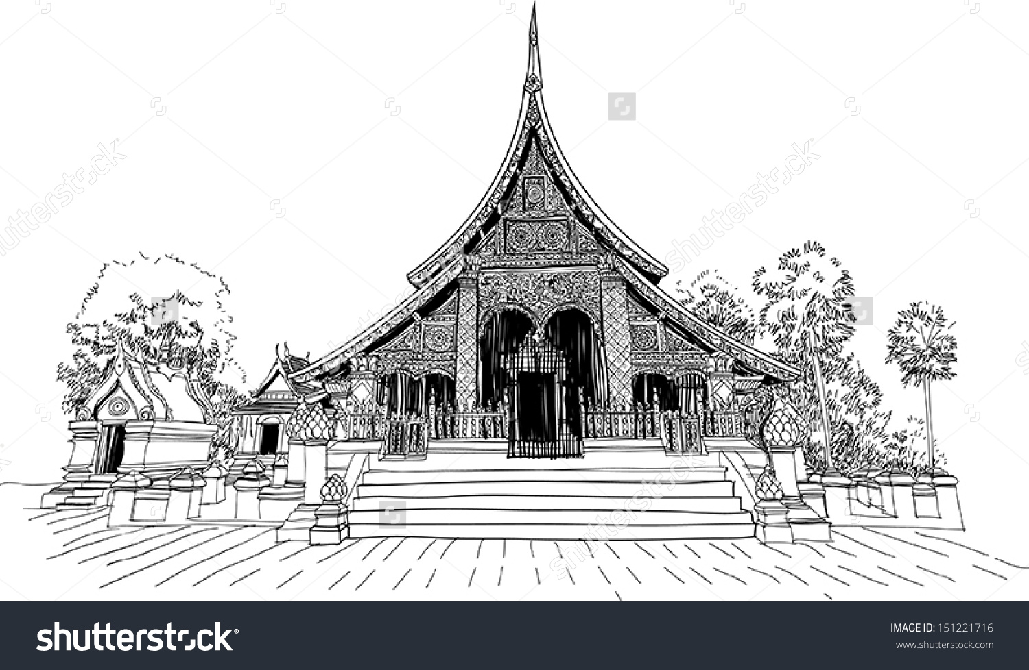 Illustration Wat Xieng Thong Buddhist Temple Stock Vector.