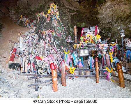 Pictures of Phallus shrine at Railay Beach, Thailand.
