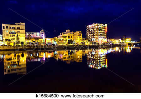 Stock Photography of Nights of Phan Thiet City. k15684500.