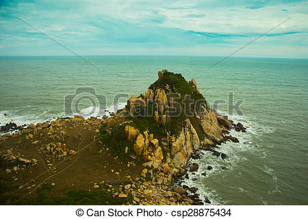 Stock Photos of Beautiful sea with waves and mountains.Aerial view.