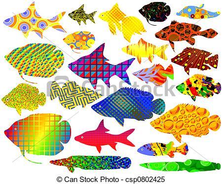 Stock Illustrations of Fancy fish.