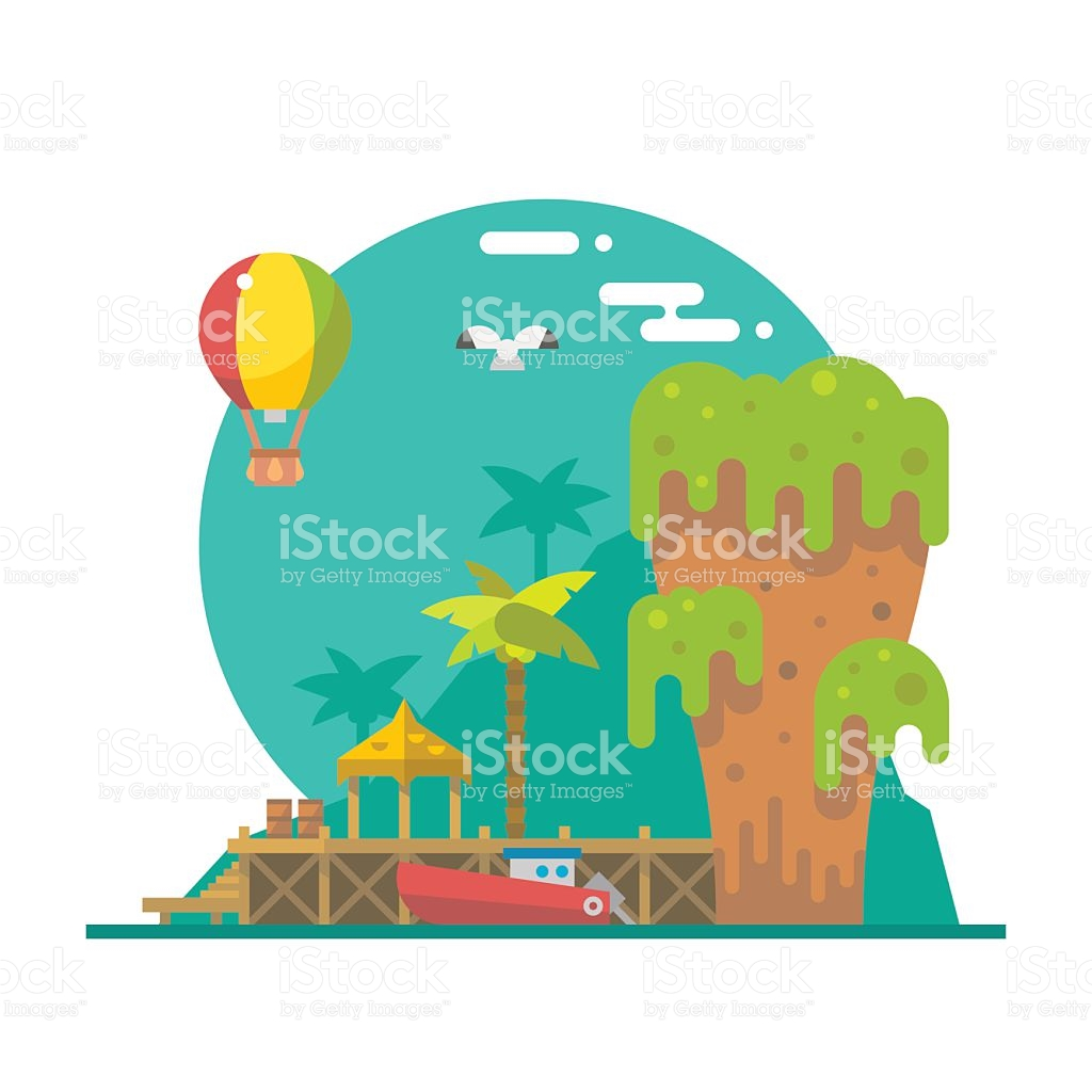 Flat Design Of Tapu Island At Phang Nga Thailand stock vector art.