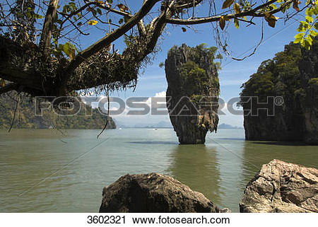 Stock Photography of Rock islet Ko Tapu, Ao Phang Nga National.