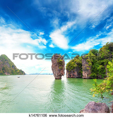 Stock Images of James Bond island Thailand travel destination.