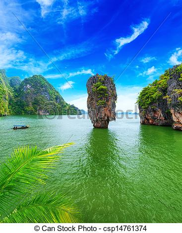 Picture of James Bond island Thailand travel destination. Phang.