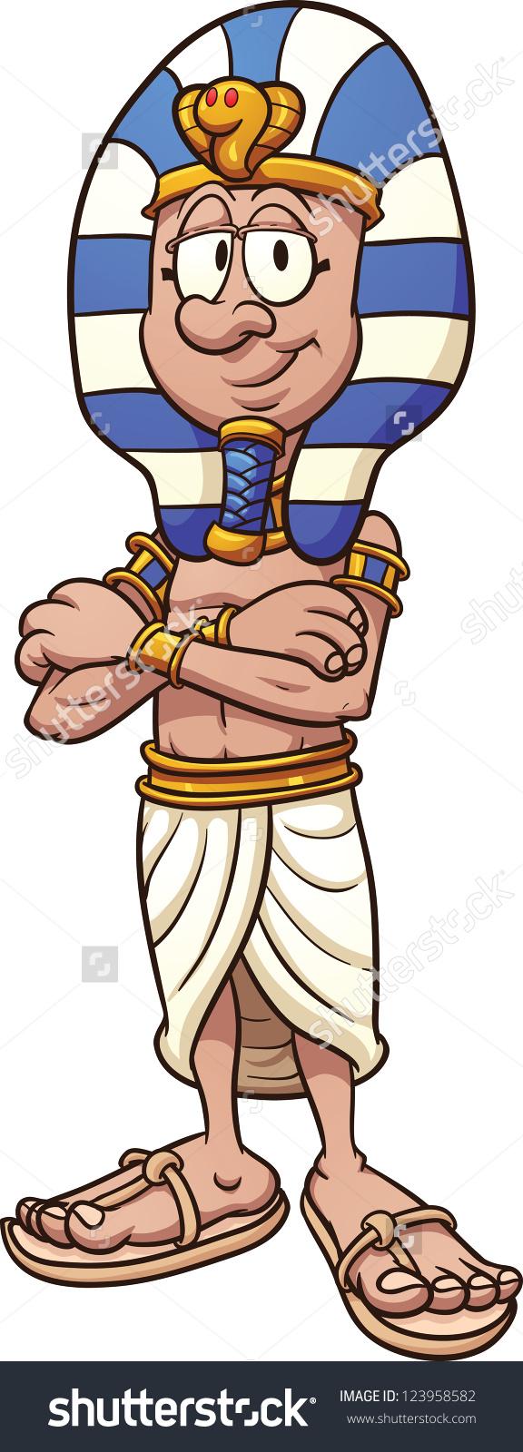 Cartoon Pharaoh Vector Clip Art Illustration Stock Vector.