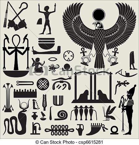 Vector Clip Art of Egyptian Symbols and Signs SET 2.