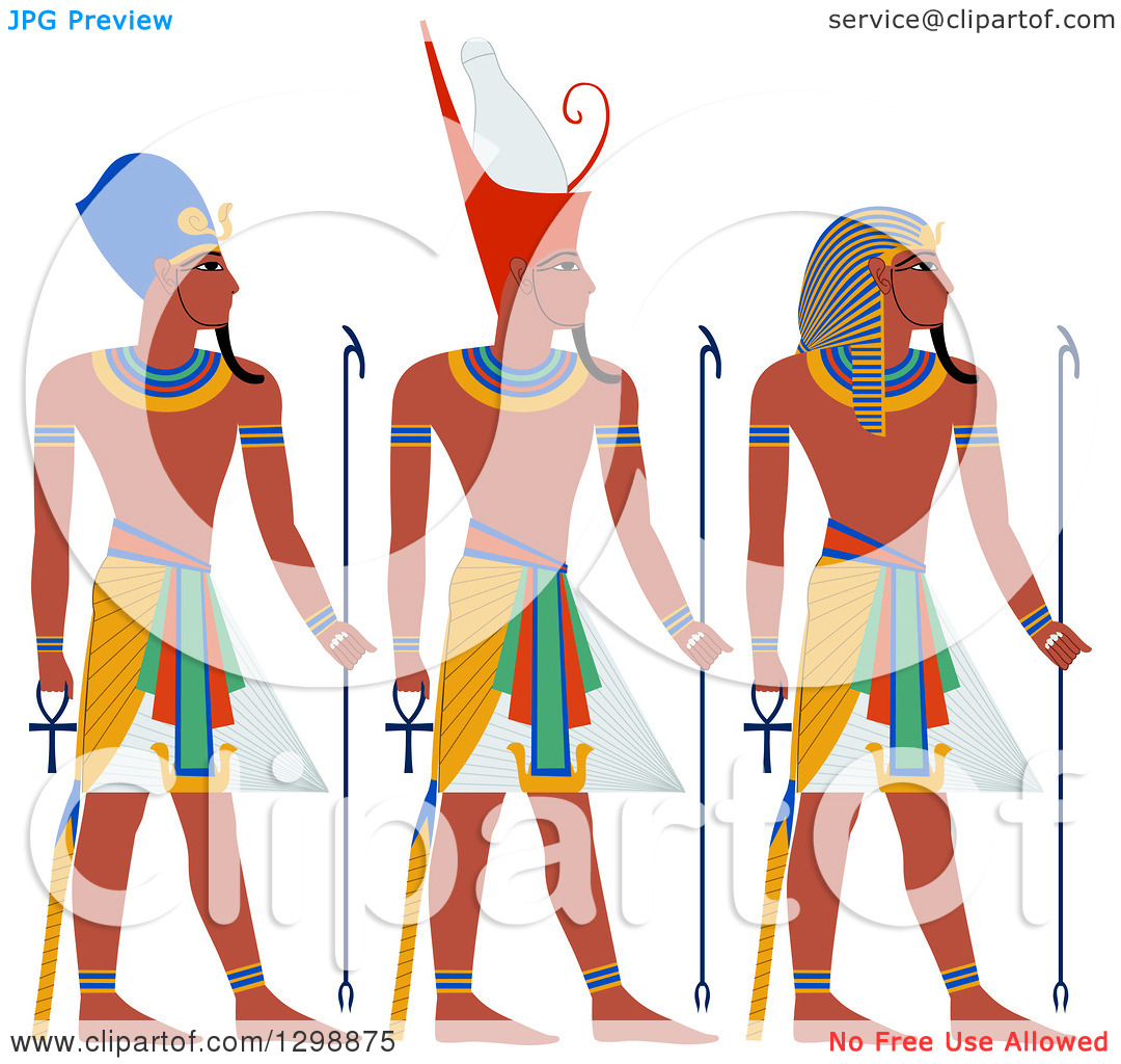 Clipart of a Line of Ancient Egypt Pharaohs.