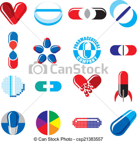 Clipart Vector of Set of Pharmaceutical Concept Icons.