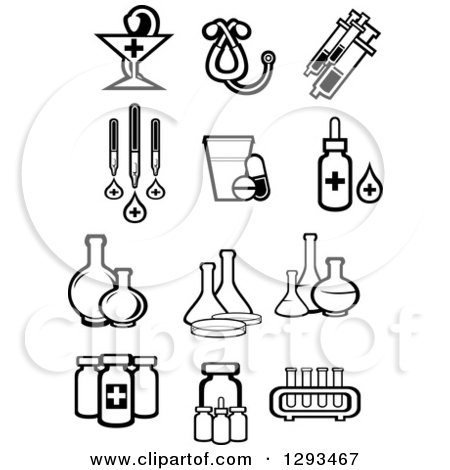 Clipart of Black and White Pharmaceutical, Medical and Science.