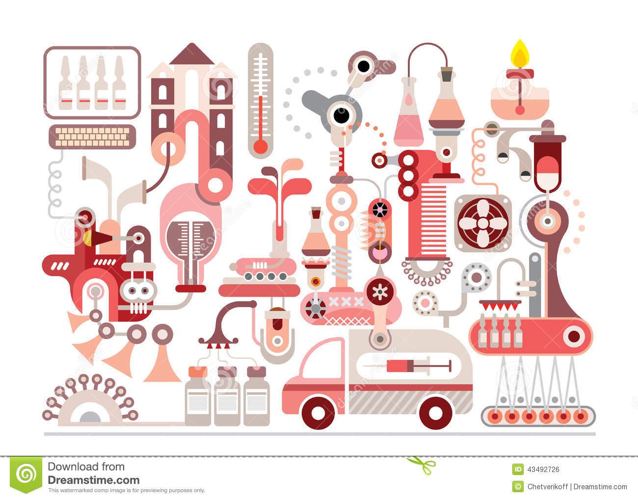 Pharmaceutical Manufacturing Clip Art.
