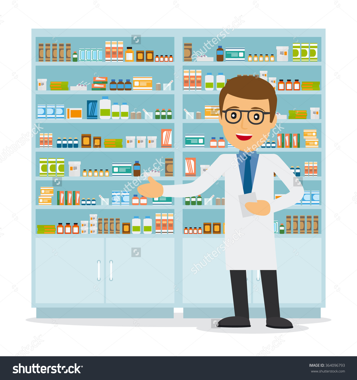 Male pharmacist clipart.