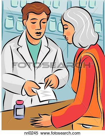 Drawings of A pharmacist explaining a prescription to a customer.