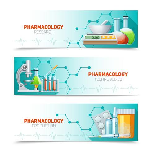 Pharmacology 3 Horizontal Banners Set.