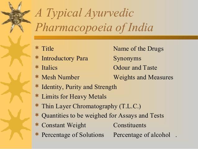 Ayurveda pharmacopoeia.