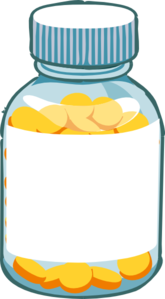 Medication bottle clipart.