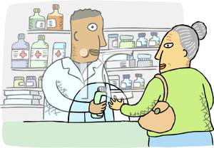 Woman Picking Up Her Perscription From the Pharmacy.