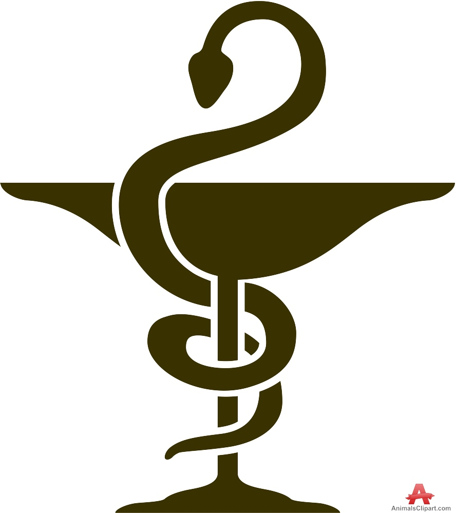Bowl of Hygieia Pharmacy Symbol Stencil Clipart.