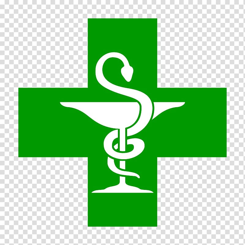 Green cross with serpent logo, Pharmacy Symbol Medical.