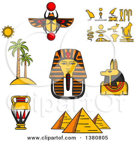 Clipart Egyptian Pharaoh With Pyramids And Flowers.