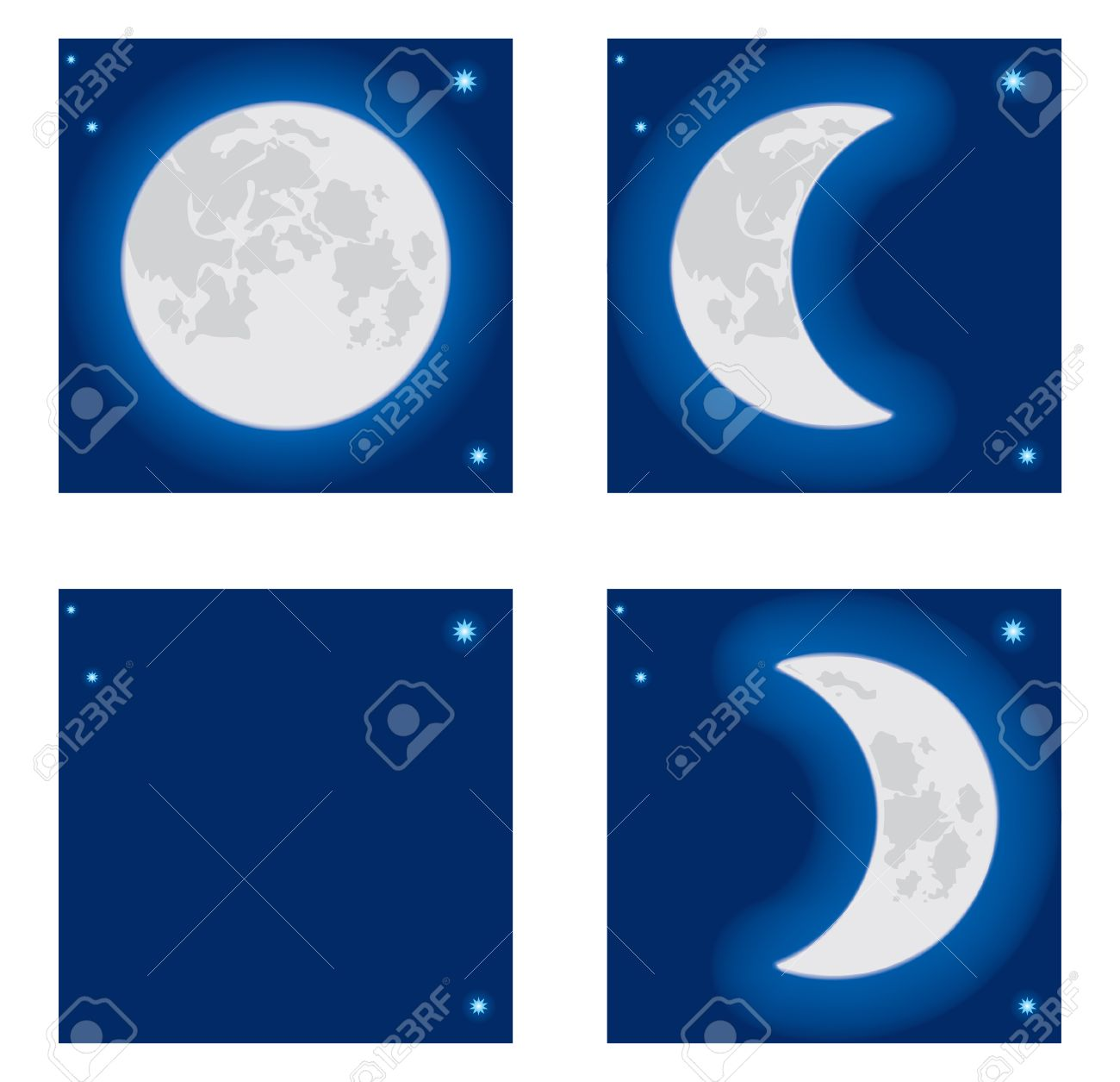 Moon phases clipart free.