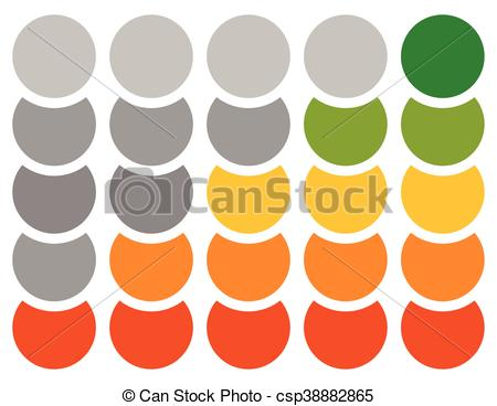 Clip Art Vector of Vertical progress, step, phase indicators with.