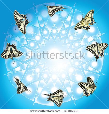 Raster Version Of Vector/ Butterfly In Flight.