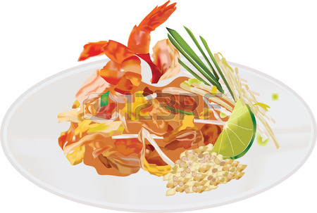 Pad Thai Noodles With Shrimps Royalty Free Cliparts, Vectors, And.