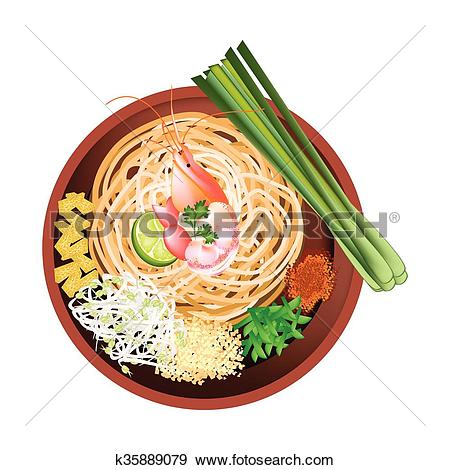 Clip Art of Pad Thai or Stir Fried Noodles with Prawn k35889079.