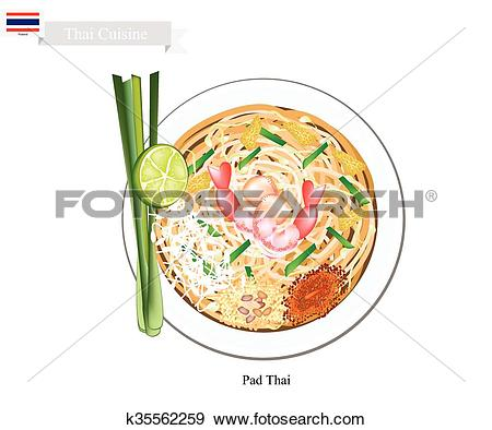 Clip Art of Pad Thai or Thai Stir Fried Noodles k35562259.