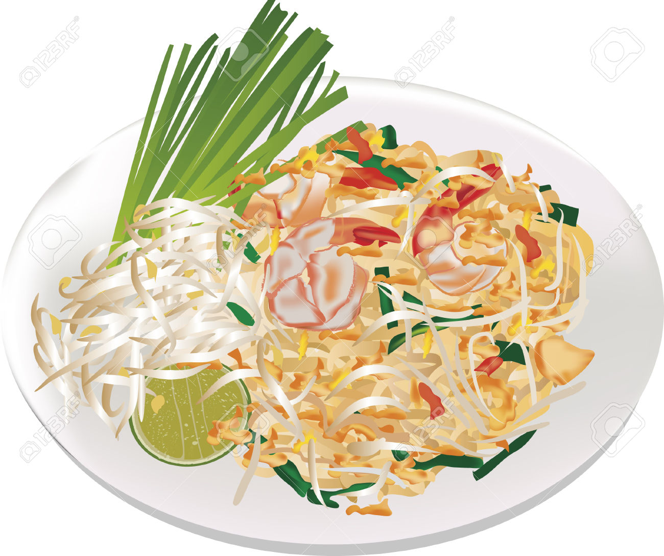 Thai Cuisine Food Pad Thai Royalty Free Cliparts, Vectors, And.