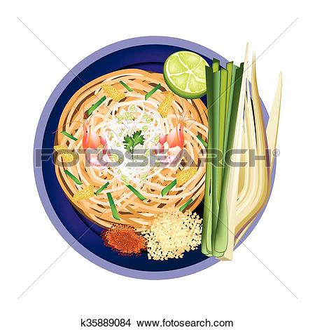 Clipart of Pad Thai or Traditional Stir Fried Noodles with Shrimps.