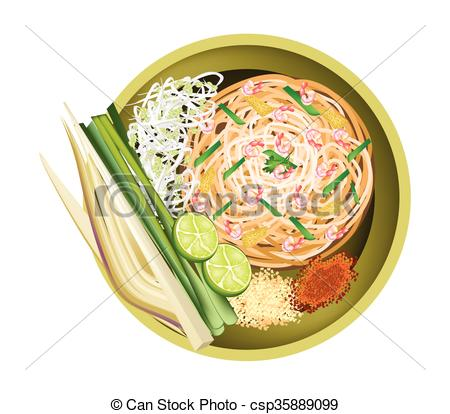 EPS Vectors of Pad Thai or Traditional Stir Fried Noodles with.