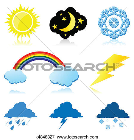 Clip Art of Icons of the weather phenomena. A vector illustration.